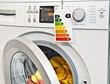 Leinwandbild Motiv Waschmaschine und Ökolabel