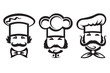 monochrome illustration of three chefs