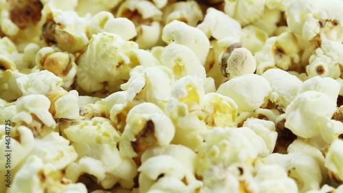 bowl of popcorn rotates closeup