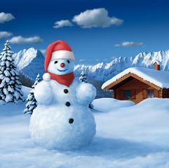 Schneemann mit Wihnachtsmütze