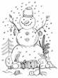 christmas card for xmas design hand drawn snowman