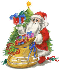Santa Claus with sac and decorated tree, watercolor