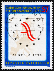 Postage stamp Austria 1998 Map of Europe and Austrian Flag