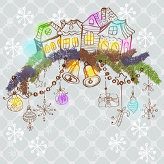 christmas card for xmas design with fur tree, houses and decorat