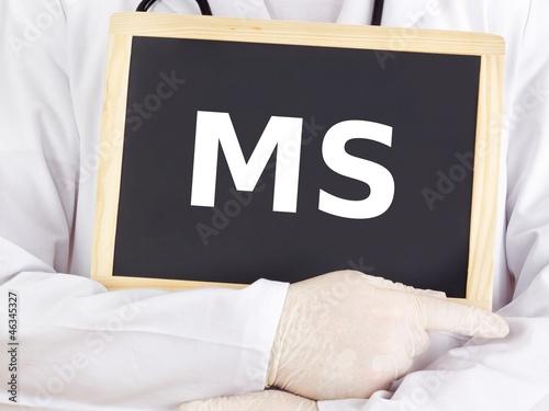 Doctor shows information on blackboard: MS