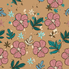 Seamless texture with pink flower.