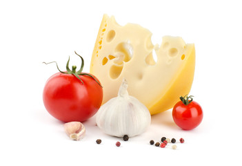 Cheese, tomatoes and garlic isolated on white background
