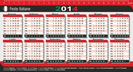 calendario 2014 da tavolo con festività Italiane