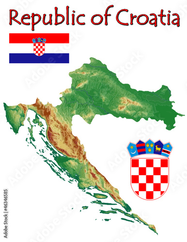 Croatia Europe national emblem map symbol motto