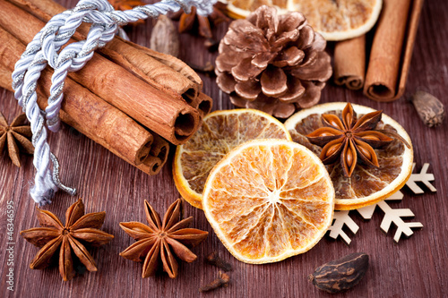 Christmas spices: star anise, cardamom, cloves and  cinnamon
