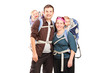 Happy family with hiking backpacks posing