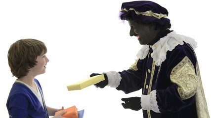 Zwarte Piet is giving presents to a child