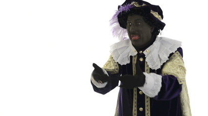 Zwarte Piet is throwing presents