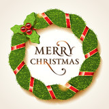 Christmas holly wreath with the Merry Christmas inscription