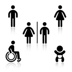 Toilet black set pictograms