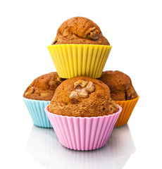 Walnut Muffins isolated on white