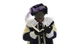 Zwarte Piet is reading in the book of Sinterklaas