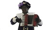 Zwarte Piet is making music with a accordion