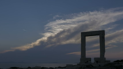 Time lapse of sunset behind the Portara gate, Naxos island