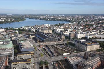 Hauptbahnhof Hamburg, Außenalster, Innenstadt, Luftbild, Hamburg