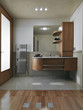 bagno moderno con parquet