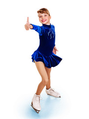 Girl figure skating show thumb up.