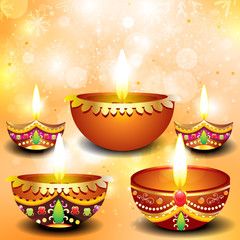 abstract diwali background with deepak set