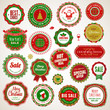 Set of badges and stickers for Christmas and New Year