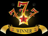 lucky seven with gold star and reflection glossy gold banner