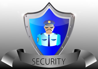 security policeman in uniform and goggles vector