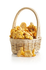 chanterelle mushrooms in basket