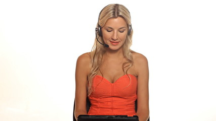 Beautiful happy blond customer service woman tablet computer
