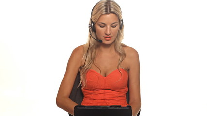 Happy blond customer service worker with tablet computer