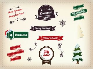 Christmas decoration collection - Set of calligraphic and typogr