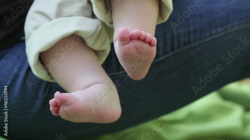 Close up of Caucasian baby's bare feet
