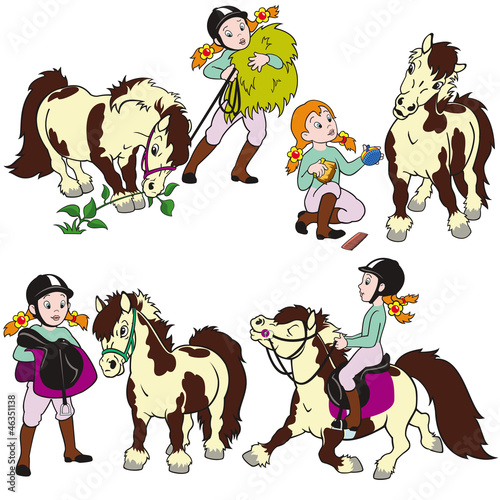 set with girl and pony