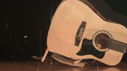 Guitar smashing on the floor (slow motion)