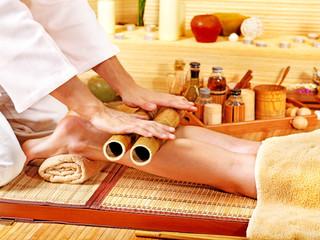 Woman getting feet massage.