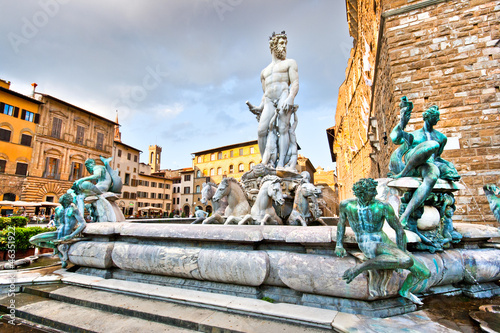 Fountain of Neptune on Piazza della Signoria in Florence, Italy