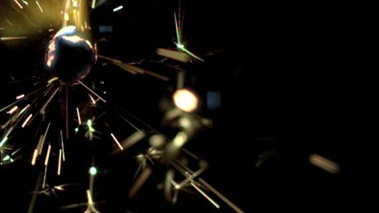 Close up of moving sparkler burning (slow motion)