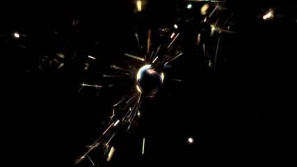 Close up of sparkler burning (slow motion)