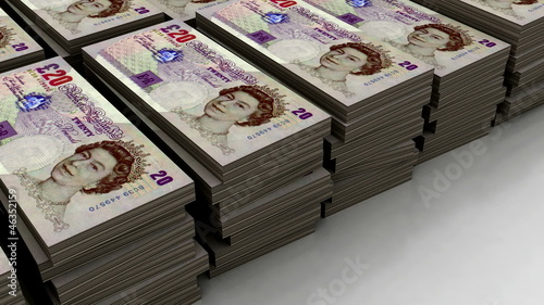 Stacks of £20 banknote (loop)