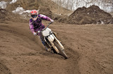 Motocross party rides standing cornering the furrow poster