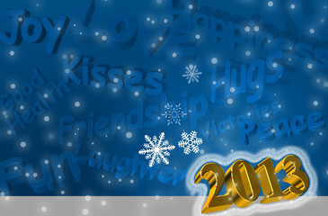 Best wishes for the Year 2013 Greeting Card  3d text in blue