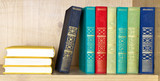 Books of various literary genres on shelf poster