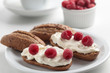 Sandwiches with soft cheese and raspberry