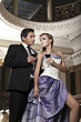 Beauty romantic young couple in love in mysterious mansion