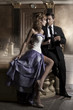 Beauty romantic young couple in love in mysterious residence