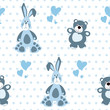 Seamless pattern with teddy bear and a rabbit
