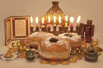 Hanukkah menorah with  candles and  dreidel